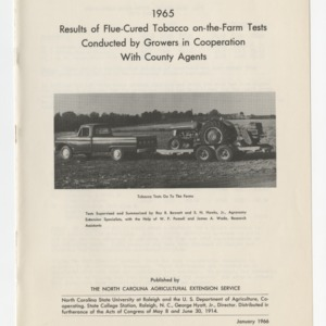 1965 Results of Flue-Cured Tobacco on-the-Farm Tests Conducted by Growers in Cooperation With County Agents