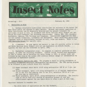Insect Notes 1965