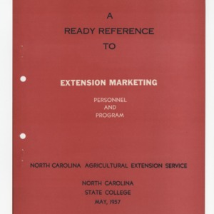 A Ready Reference to Extension Marketing Personnel and Program May 1957