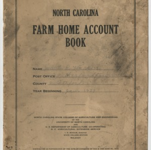 North Carolina Farm Home Account Book 1939