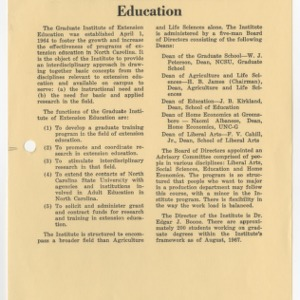 Graduate Institution of Extension Education 1967