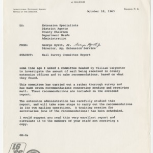 Mail Survey Committee Report Oct. 1963