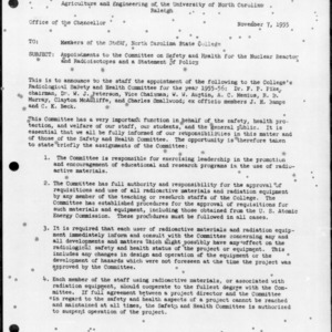 Appointments to the Committee on Safety and Health for the Nuclear Reactor and Radioisotopes and a Statement of Policy, November 7, 1955
