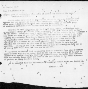 Correspondence on Life of Polysthylene Valve Seats if Used in the Piping of the Gamma Irradiation Facility, October 7, 1955