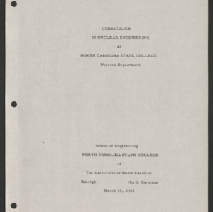 Department of Nuclear Engineering Courses and Curriculum, 1950, no date