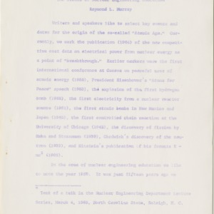 Nuclear Engineering Education documents, 1965-1967