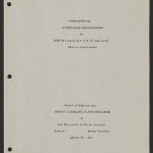 Curriculum in Nuclear Engineering At North Carolina State College, Physics Department, 25 March 1950