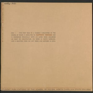 Student Publication of the School of Design, North Carolina State College, Raleigh, North Carolina, Volume 1, Number 1 (First Issue)