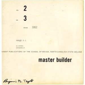 Master Builder, Student Publications of the School of Design, North Carolina State College, Spring 1952, Volume 2, Number 3