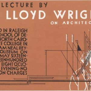 Poster for a public lecture by Frank Lloyd Wright on architecture, 1950