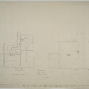 Davidson College Presbyterian Church Manse -- Basement plan, roof plan