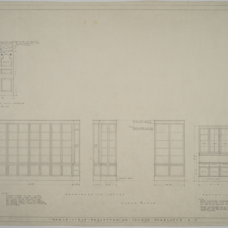 Elevation of main entrance, bookcase in study, pantry cupboard details