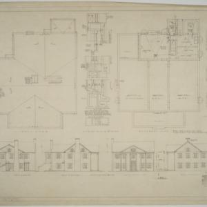 Roof plan, basement plan, elevations