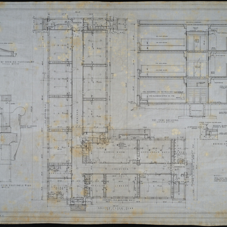 Ground floor plan, section thru building