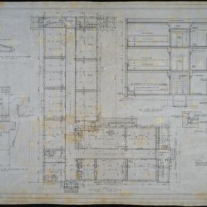 Ground floor plan, section thru building