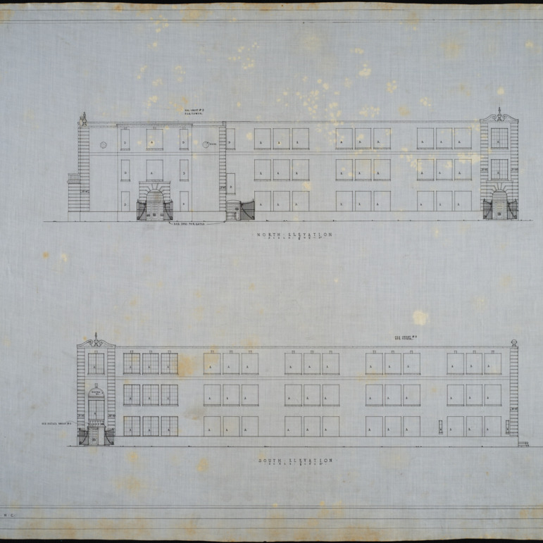 North elevation, south elevation