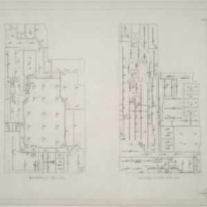 Basement ceiling plan, second floor ceiling plan