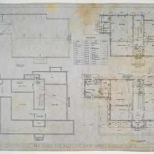 Basement plan, roof plan, first floor plan, second floor plan, door schedule