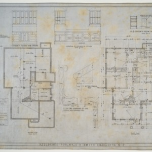 Basement plan, floor plan, various details