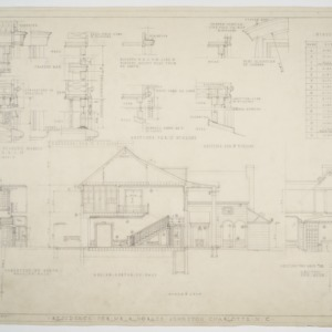 Cross sections, elevations, and various details