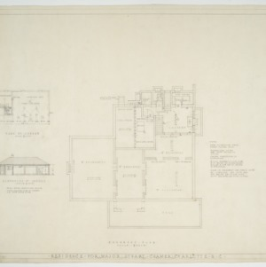 Basement plan, garage elevation, and garage floor plan