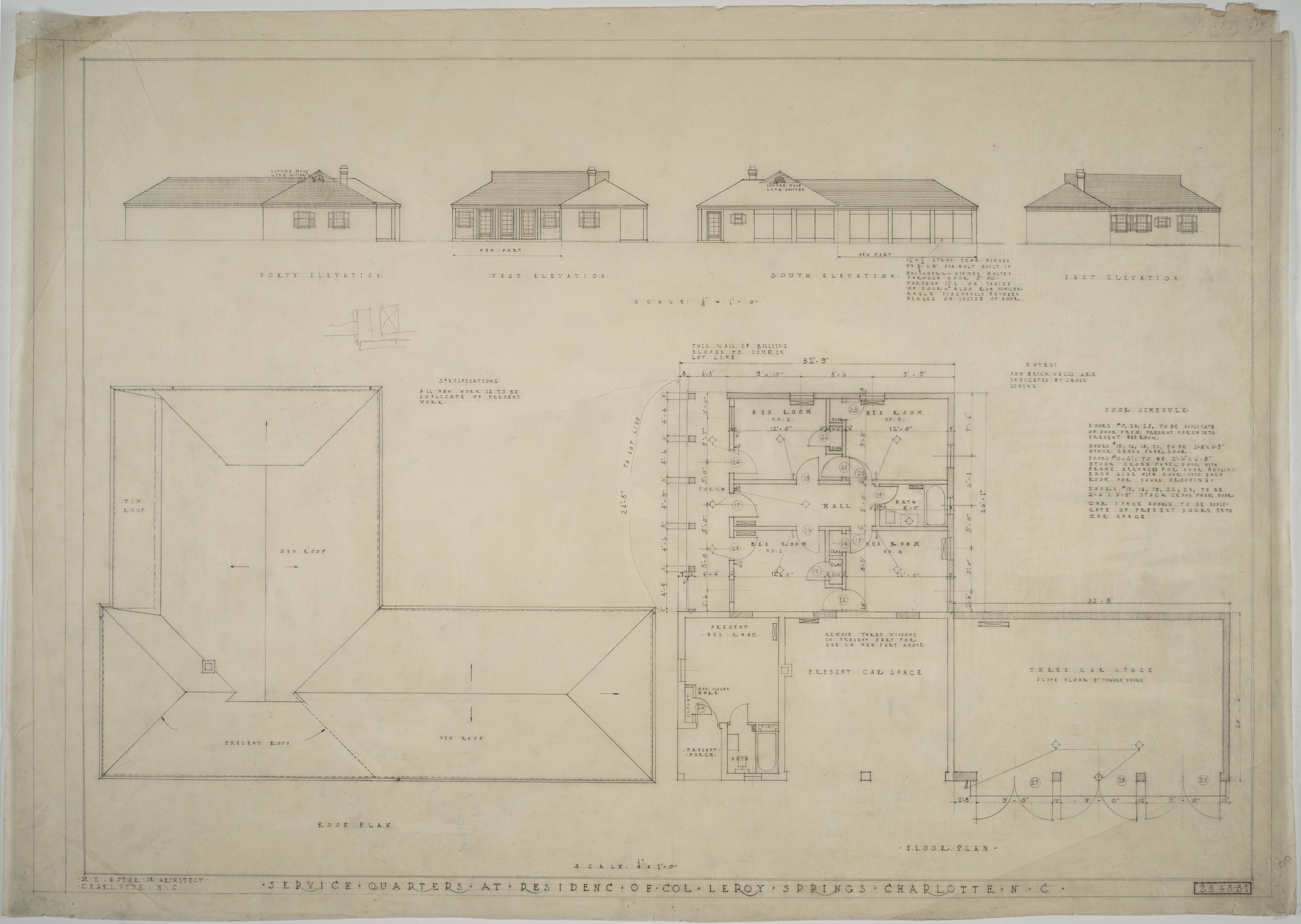 Elevations roof plan floor plan of servants 39 quarters Servant quarters floor plans