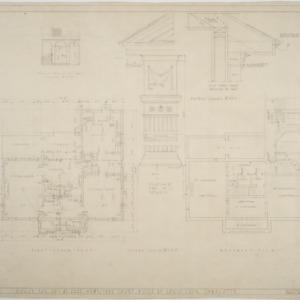 Basement plan, first floor plan, pilaster details