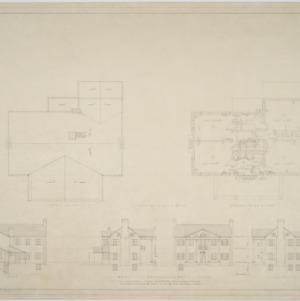 Roof plan, second floor plan, elevations