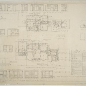 First floor plan, second floor plan, interior elevations