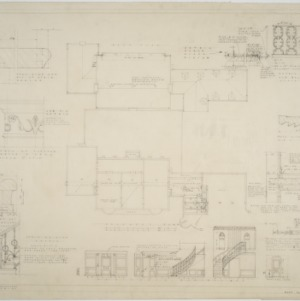 Roof plan, basement plan, interior details