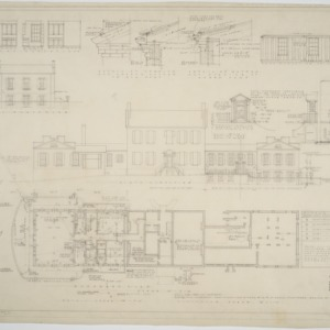 Basement plan, north elevation