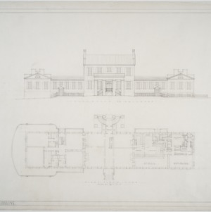 Elevation on driveway, first floor plan