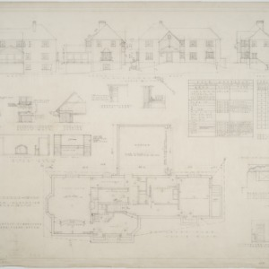 Basement plan, elevations, interior elevations