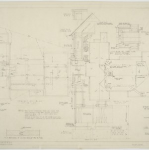 Foundation plan, roof plan, wall section
