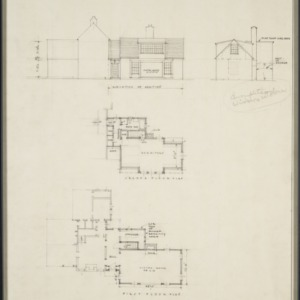 Elevation of addition, second floor plan, first floor plan