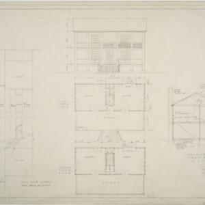 Front elevation, first floor plan, second floor plan, setions