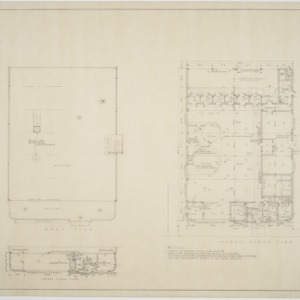 Roof plan, first floor plan, second floor plan