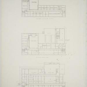 Ground floor plan, second floor plan, third floor plan