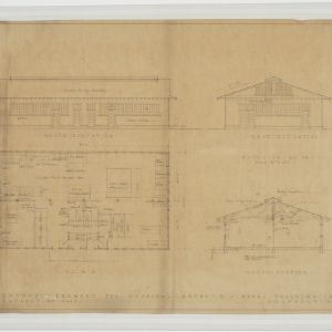 Elevations, floor plans, sections of proposed laundry building for hospital group