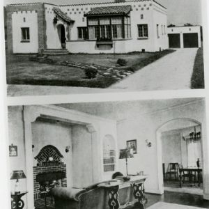 George Adams House - Facade and Living Room, two images