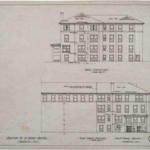 West elevation, Sixth Street elevation