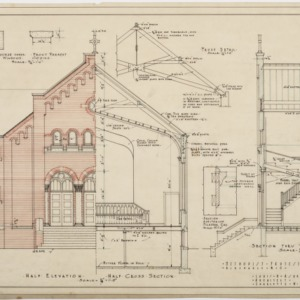 Half elevation, half cross section, section through front entrance
