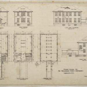 Floor plans, elevations, Colored Building