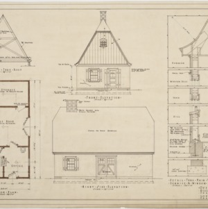 Floor plan, front elevation, right side elevation of office