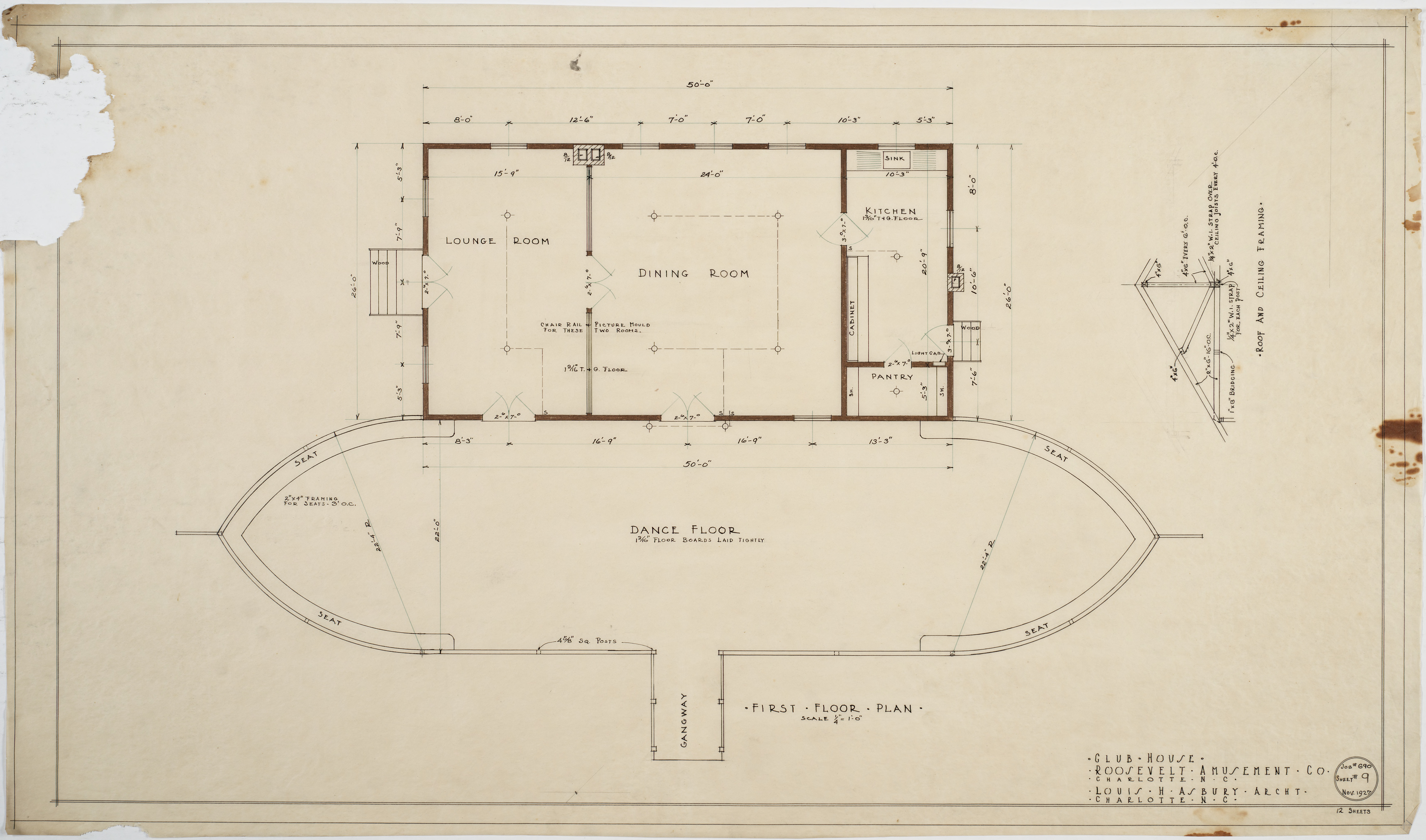 First Floor Plan Of Clubhouse Roosevelt Amusement Company