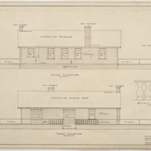 Rear elevation, front elevation of clubhouse