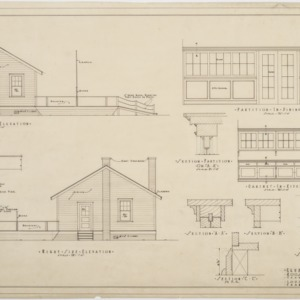 Left side elevation, right side elevation, interior details of clubhouse