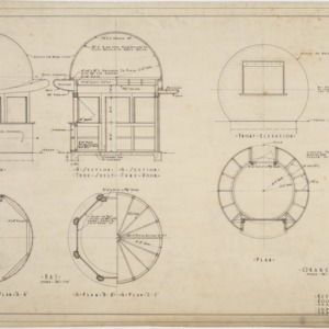 Elevations, floor plans of refreshment stands