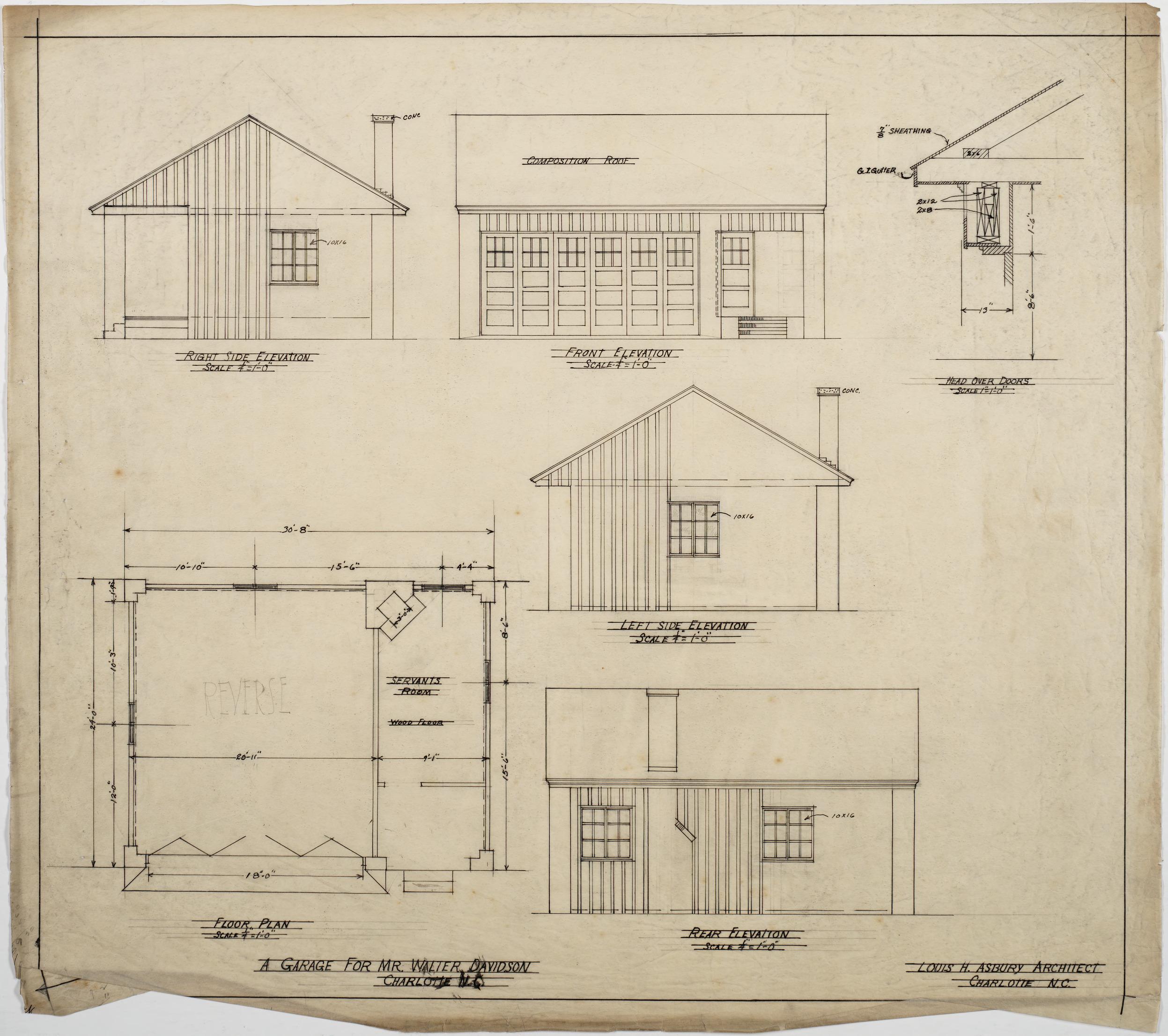 Garage Floor Elevation Code : Garage floor plan and elevations walter davidson house