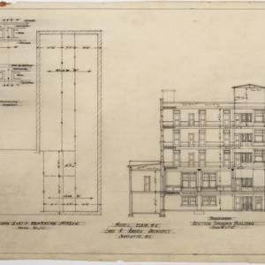 Framing plan, transverse section through building